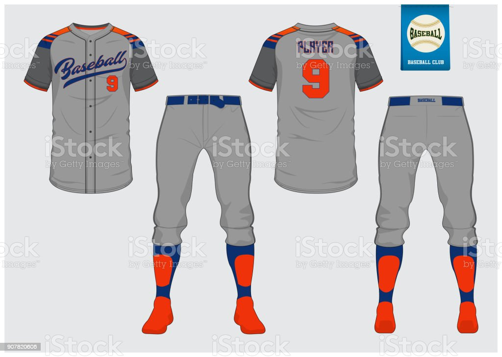 Baseball jersey, sport uniform, raglan t-shirt sport, short, sock template. Baseball t-shirt mock up. Front and back view baseball uniform. Flat baseball logo on blue label. Vector. vector art illustration