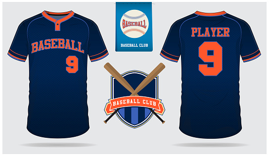 Baseball jersey, sport uniform, raglan t-shirt sport, short, sock template. Baseball t-shirt mock up. Front and back view baseball uniform. Flat baseball  on blue label. Vector