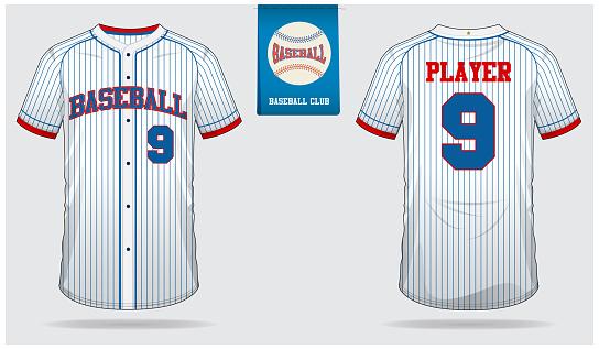 Baseball jersey, sport uniform, raglan t-shirt sport, short, sock template. Baseball t-shirt mock up. Front and back view baseball uniform. Flat baseball icon on blue label.