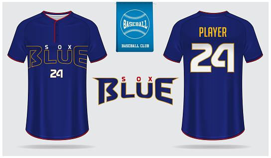Baseball jersey, sport uniform, raglan t-shirt sport, template design. Baseball t-shirt mock up. Front and back view baseball uniform. Flat baseball logo on blue label. Vector .