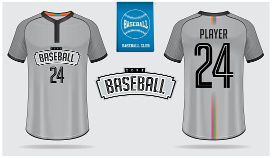 Baseball jersey, sport uniform, raglan t-shirt sport, template design. Baseball t-shirt mock up. Front and back view baseball uniform. Flat baseball logo on blue label. Vector