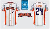 Baseball jersey, sport uniform, raglan t-shirt sport template design. Baseball t-shirt mock up. Front and back view baseball uniform. Flat baseball logo on blue label. Vector Illustration.