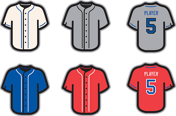 Baseball jersey template ideas in white, gray, blue and red vector art illustration