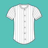 Baseball jersey line drawing template illustration with space for your copy.