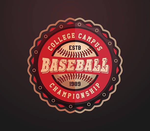 Baseball Label, College campus baseball championship vector art illustration