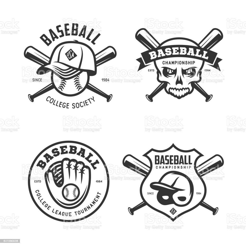 Baseball labels badges emblems set. Vector vintage illustration. vector art illustration