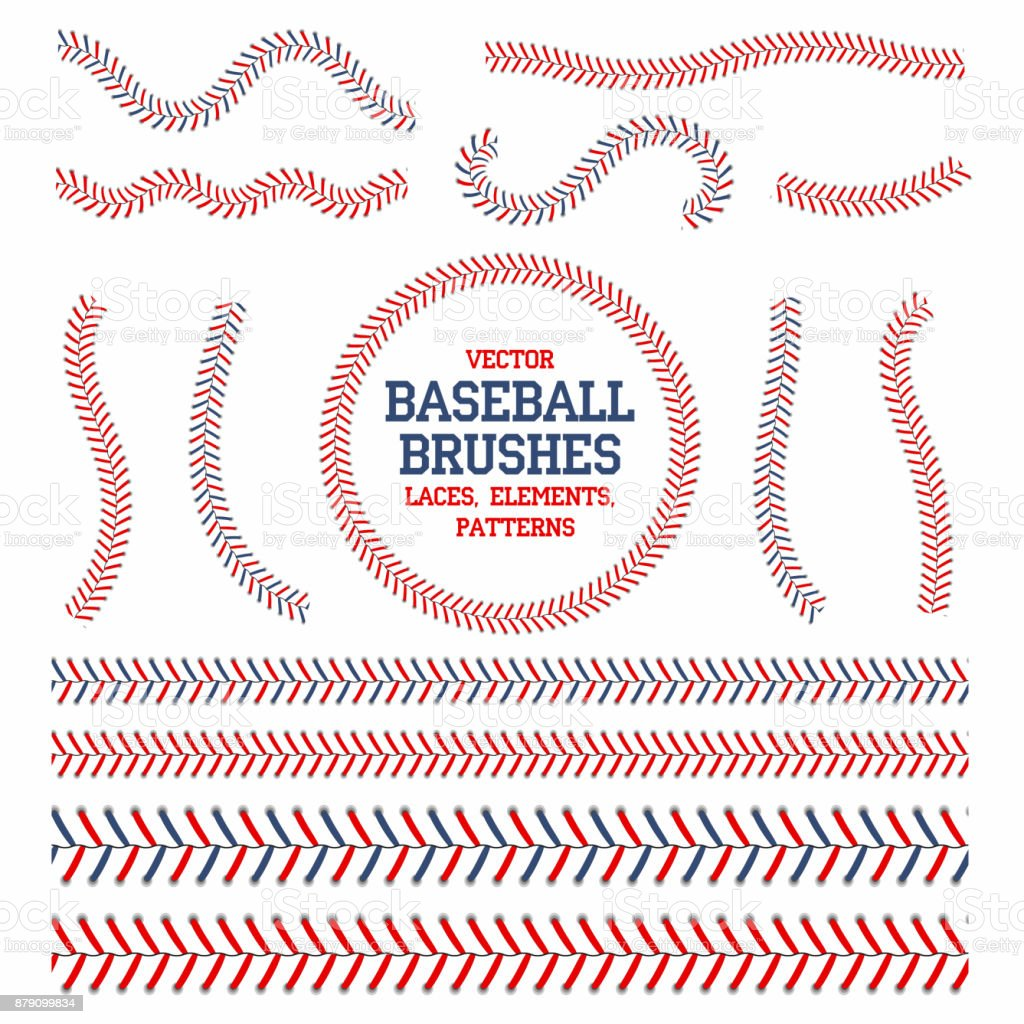 Baseball laces set. Baseball seam brushes. Red and blue stitches, laces for baseball ball decoration vector art illustration
