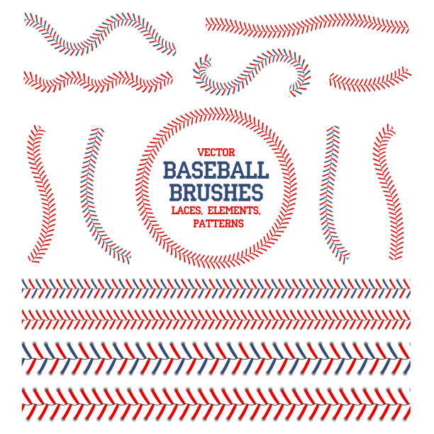 baseball laces set. baseball seam brushes. red and blue stitches, laces for baseball ball decoration - softball stock illustrations, clip art, cartoons, & icons