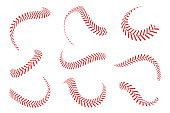 Baseball laces set. Baseball stitches with red threads. Sports graphic elements and seamless brushes. Red laces and stitches on white background
