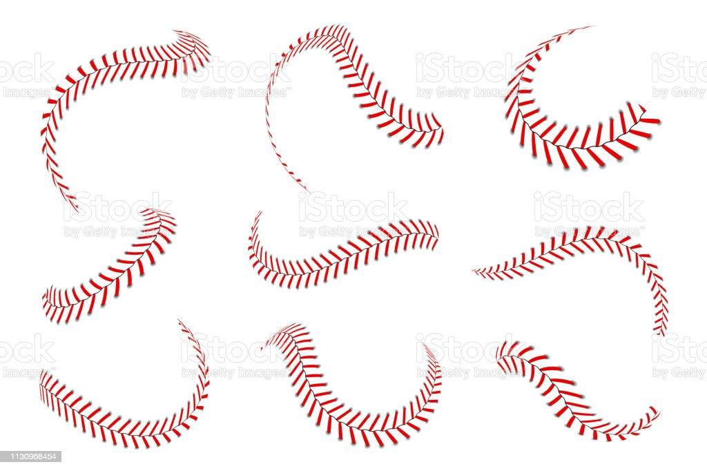 Lacets de baseball ensemble. Points de baseball avec des fils rouges. Éléments graphiques sportifs et brosses sans soudure. Lacets rouges et points de suture - Illustration vectorielle