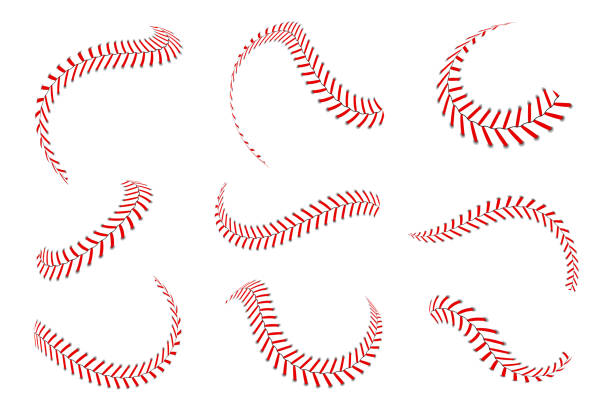 Baseball laces set. Baseball stitches with red threads. Sports graphic elements and seamless brushes. Red laces and stitches vector art illustration