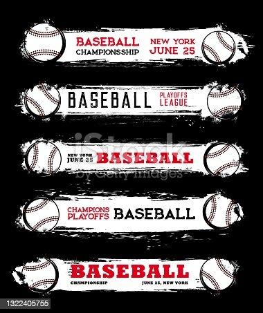 istock Baseball league championship grunge vector banners 1322405755
