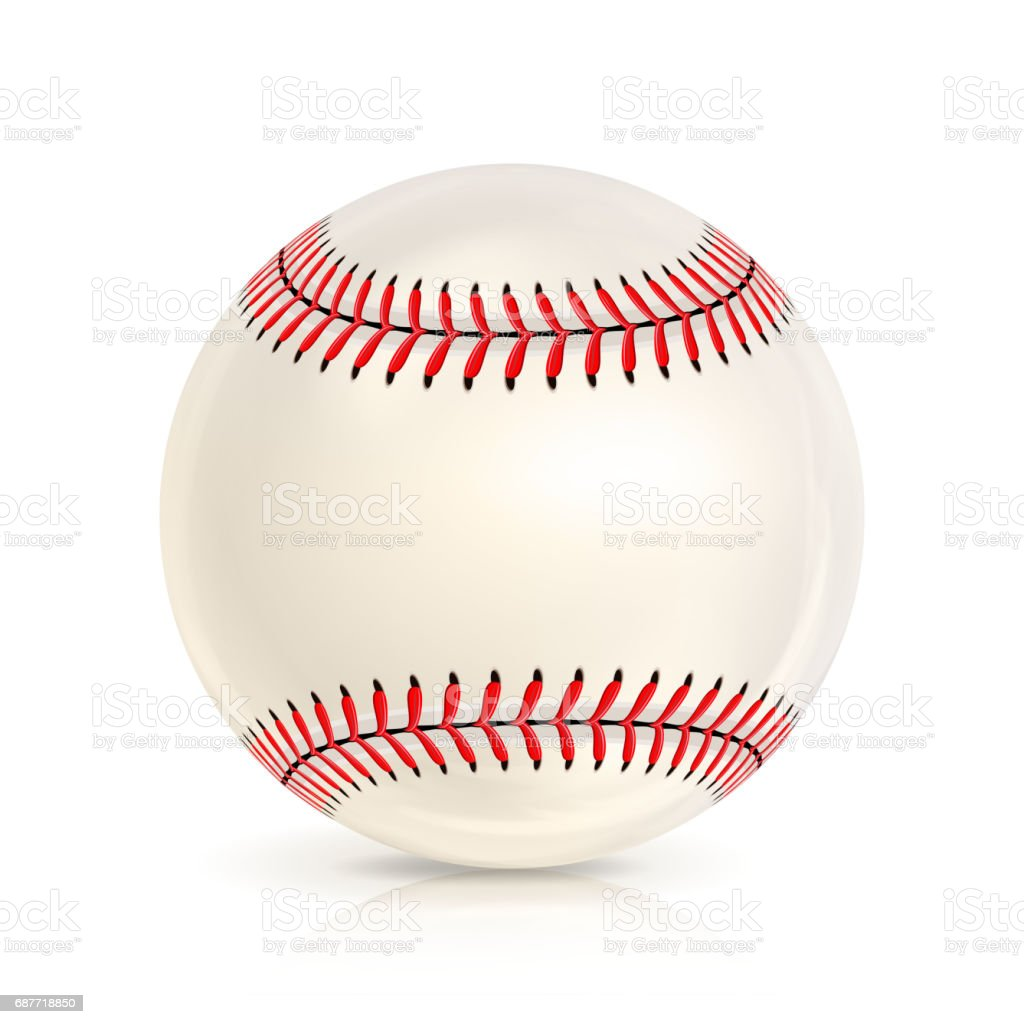 Baseball Leather Ball Close-up Isolated On White. Realistic Baseball Icon. Vector Illustration vector art illustration