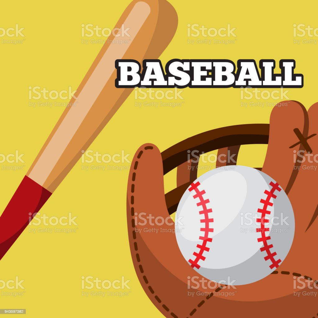 baseball leather glove ball and bat equipment sport game vector...