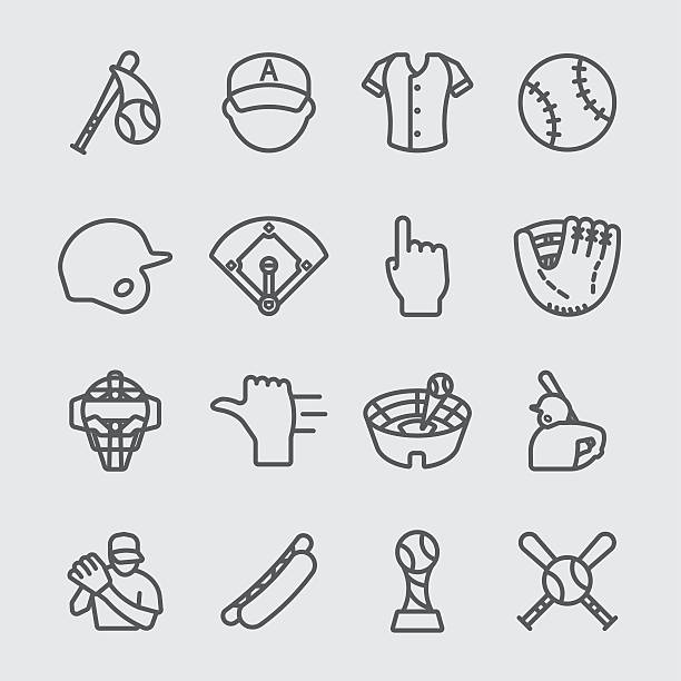 baseball line icon - baseball stadium stock illustrations, clip art, cartoons, & icons