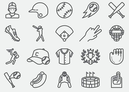 Baseball Line Icons