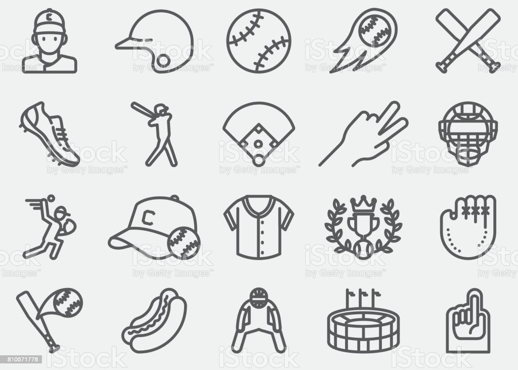 Baseball Line Icons vector art illustration