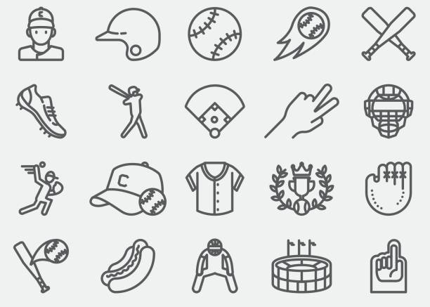 baseball-linie-icons - baseball stock-grafiken, -clipart, -cartoons und -symbole
