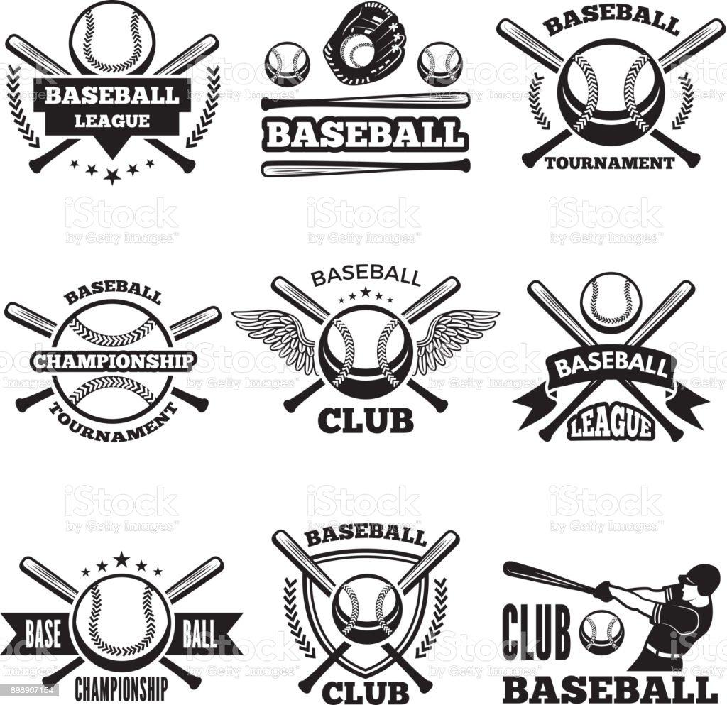 Baseball logos set in vector style vector art illustration