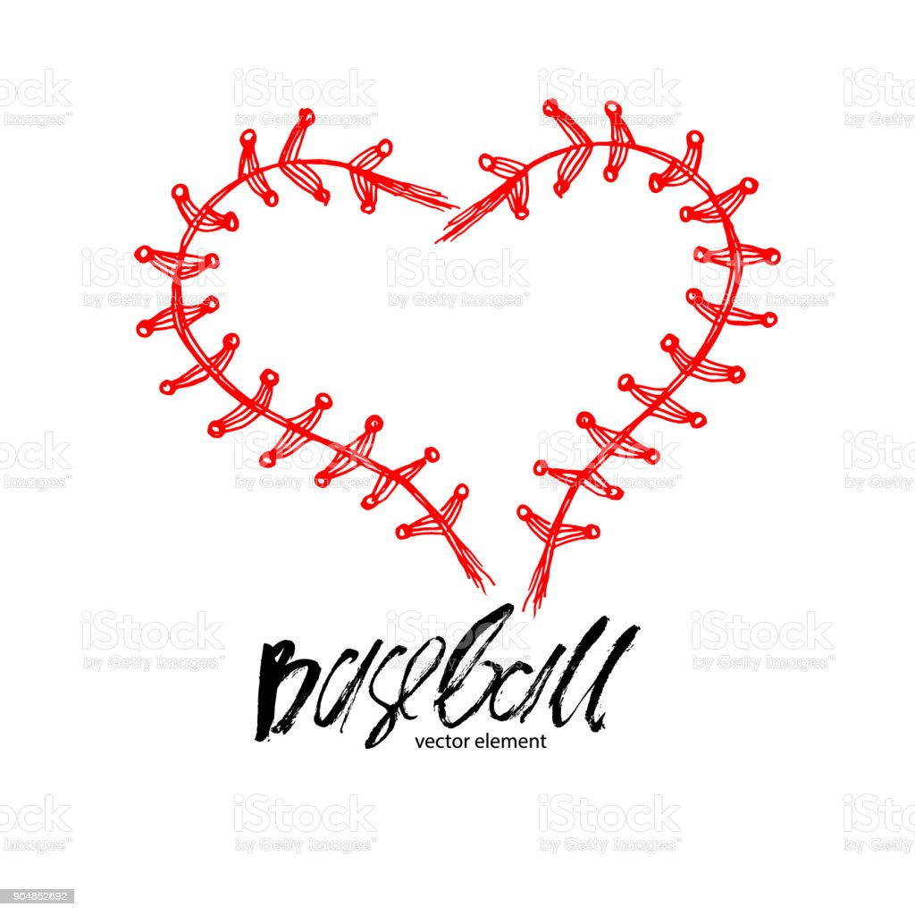 Baseball Love Lettering Abstract Heart Stock Illustration Download Image Now Istock