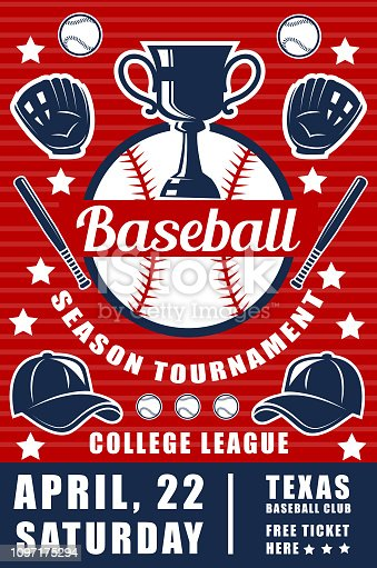 Sport of baseball game announcement poster with ball and bat or trophy cup and glove with cap. Sporting tournament for professional players brochure. College league championship leaflet vector