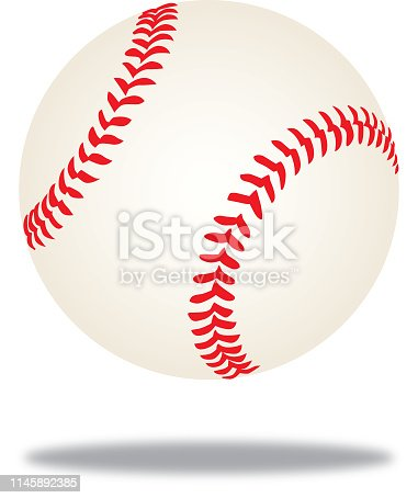 Vector illustration of a mid-air baseball with a shadow beneath it.
