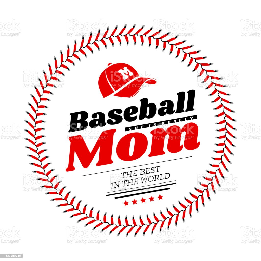 Baseball mom emblem with baseball lacing and a hat on white...