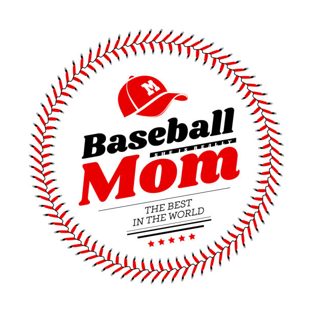 baseball mom emblem with baseball lacing and a hat on white background. vector - baseball stock illustrations
