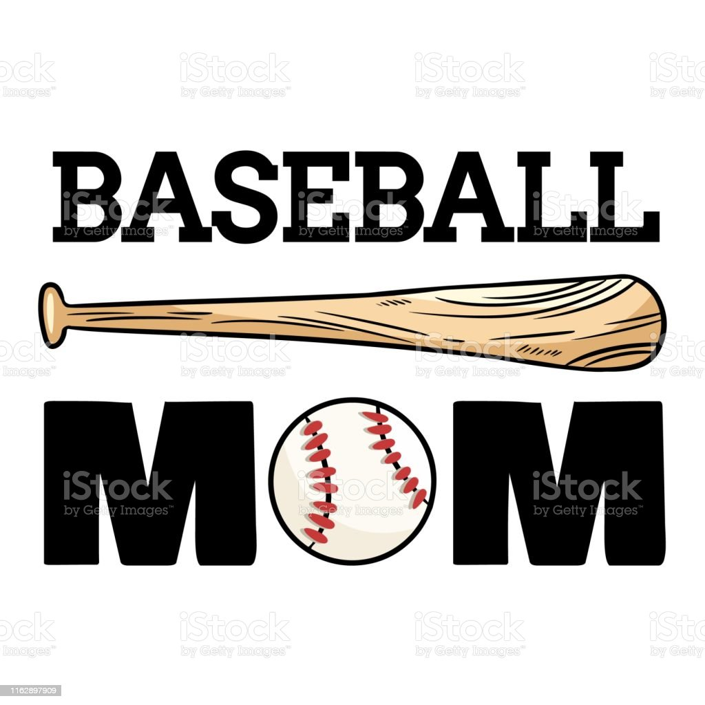 Baseball mom sport banner. Baseball ball and bat typography