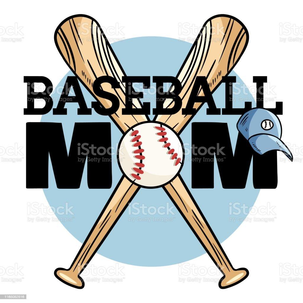 Baseball mom sport banner. Baseball ball and bats typography