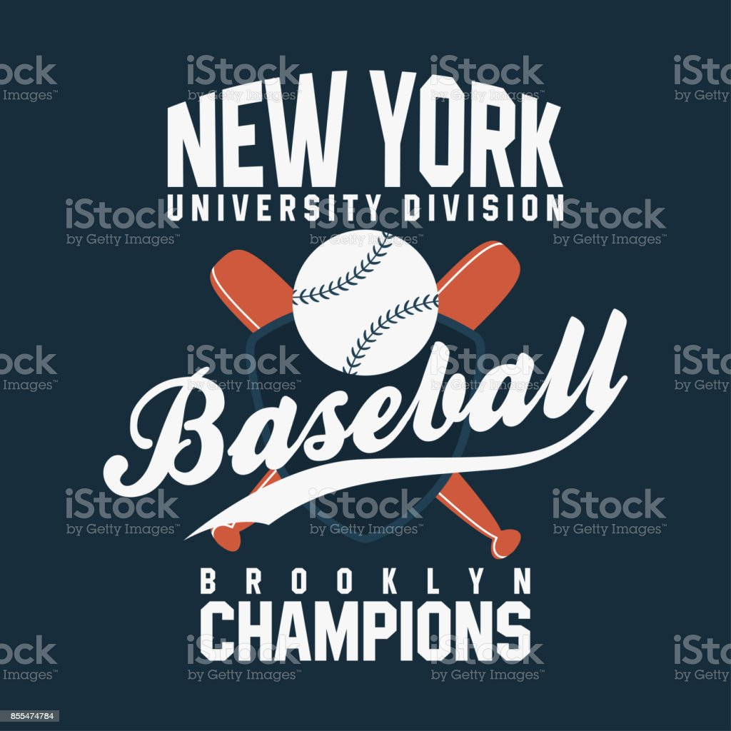 Baseball, New York. Vintage typography for t-shirt graphics. Ball with bats and shield vector art illustration