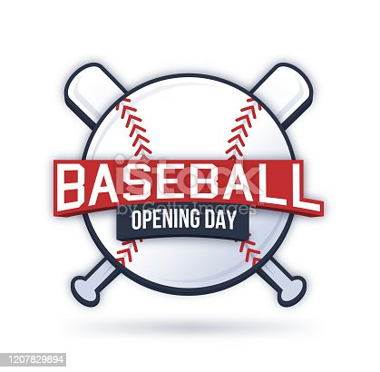 Baseball opening day crossed bats badge.