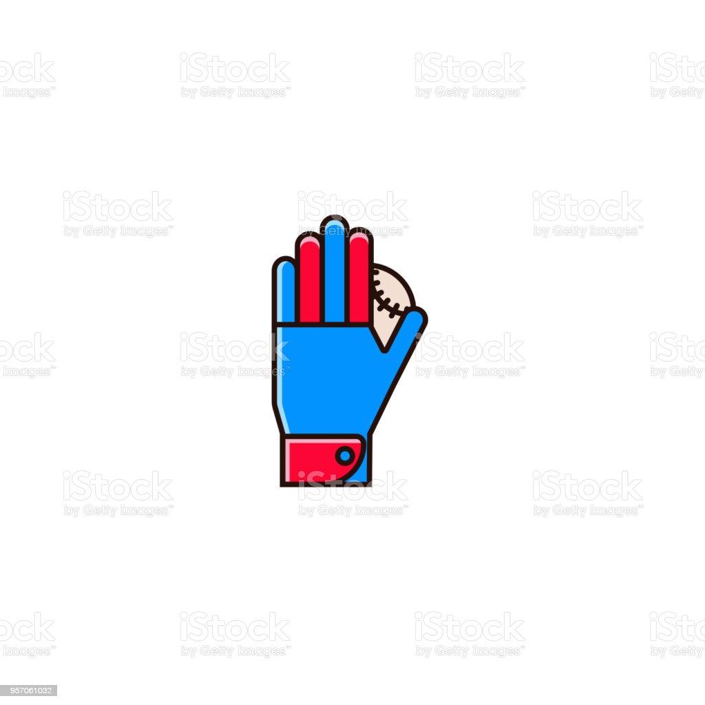 Baseball or softball batting glove with base ball - flat color line...