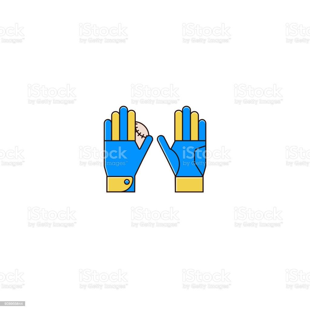 Baseball or softball batting gloves with base ball - flat color line...