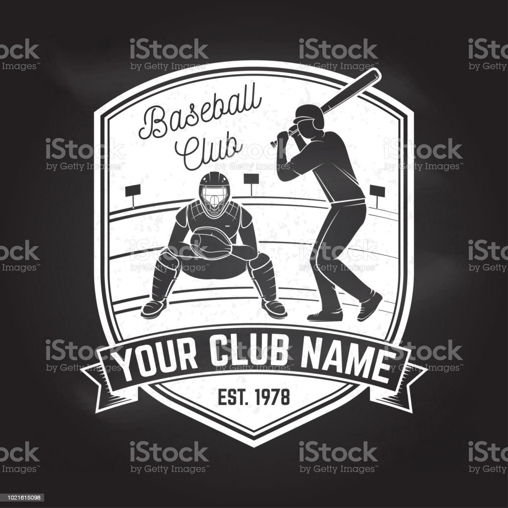Baseball or softball club badge on the chalkboard. Vector...