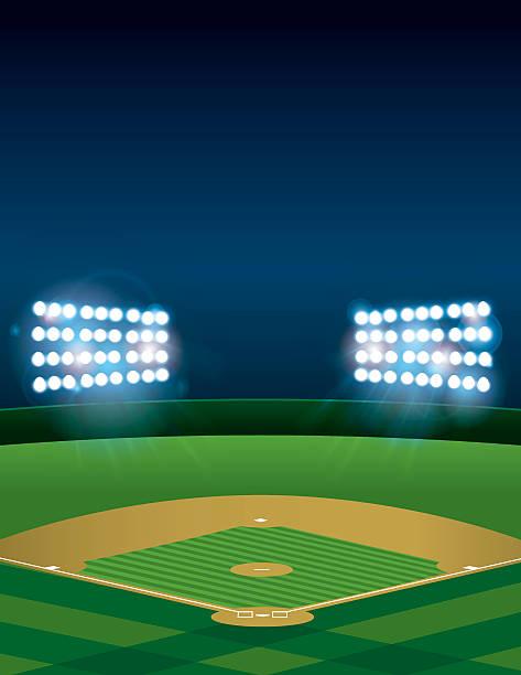 Baseball or Softball Field at Night vector art illustration