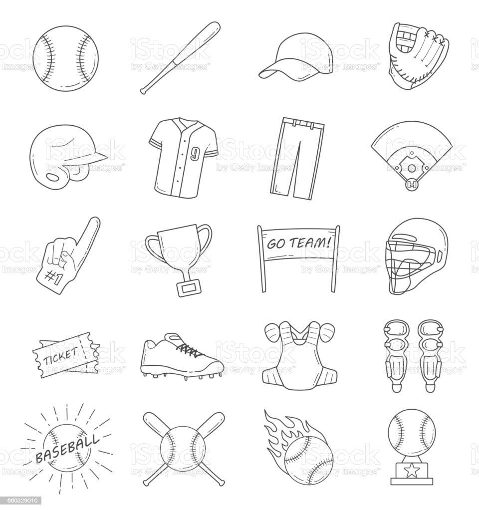 Baseball Outline Icon Set vector art illustration