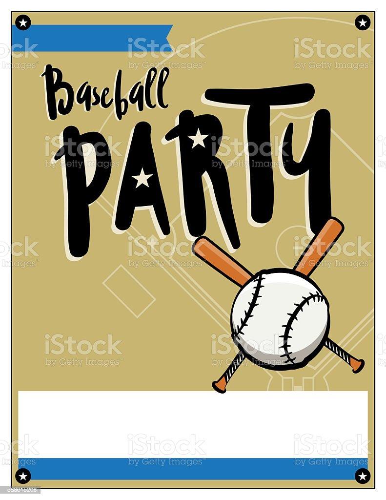 baseball party invitation template illustration stock vector art