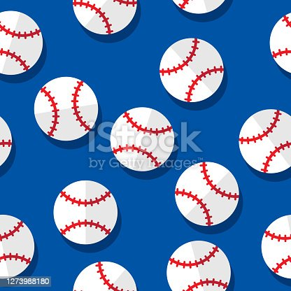 Vector illustration of baseballs in a repeating pattern against a blue background.