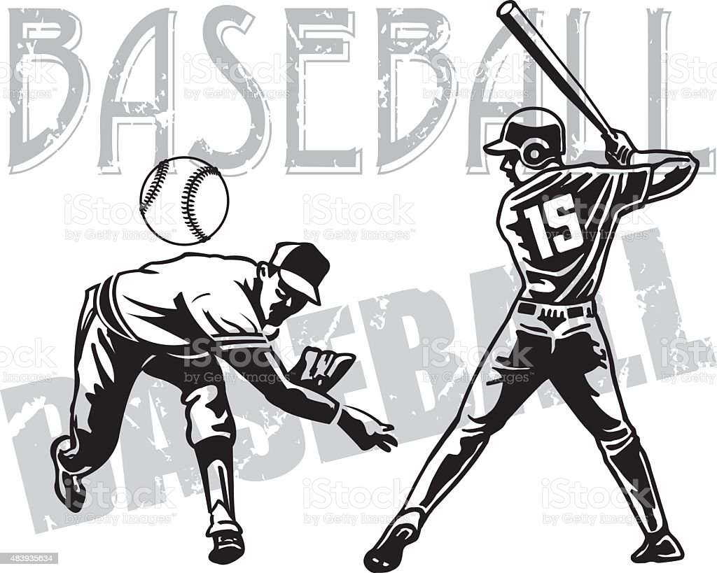 Baseball Pitcher and Batter vector art illustration