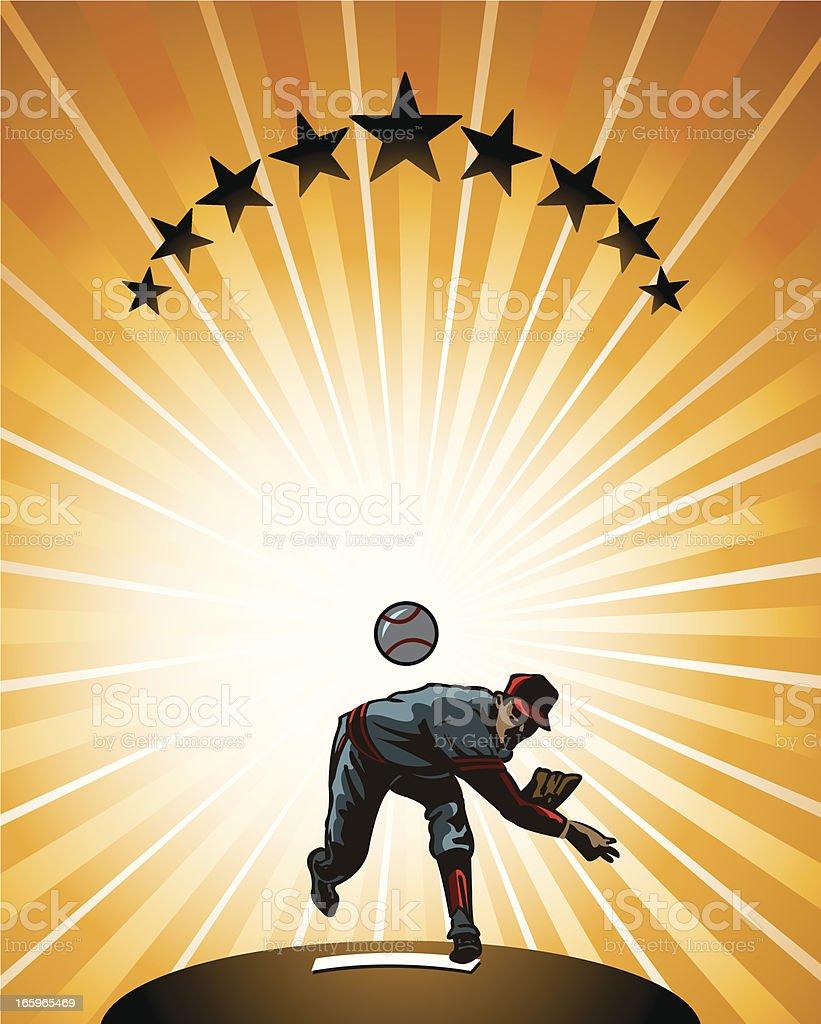 Baseball Pitcher Background - Retro vector art illustration