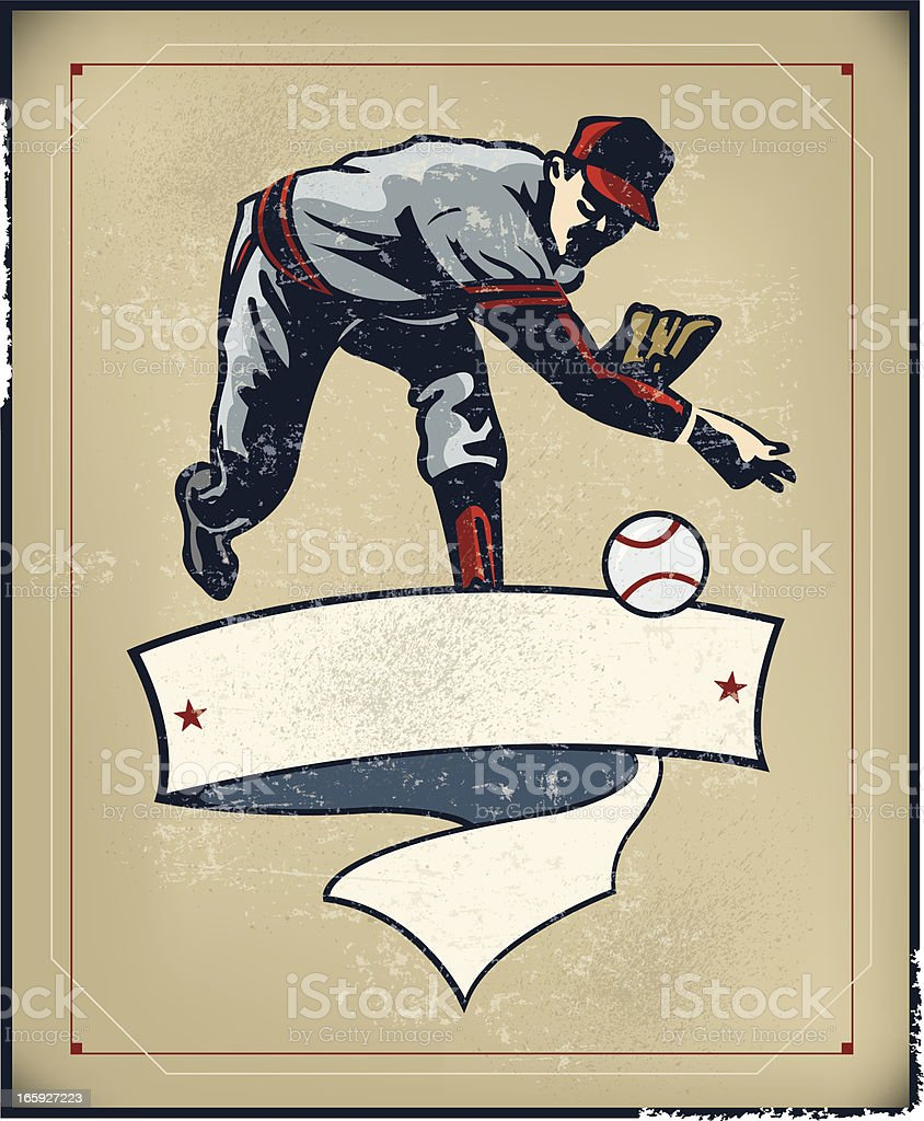 Baseball Pitcher Banner Background - Retro vector art illustration