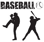 """Black and white Silhouette illustrations of a baseball pitcher, batter, ball and the word """"baseball""""."""