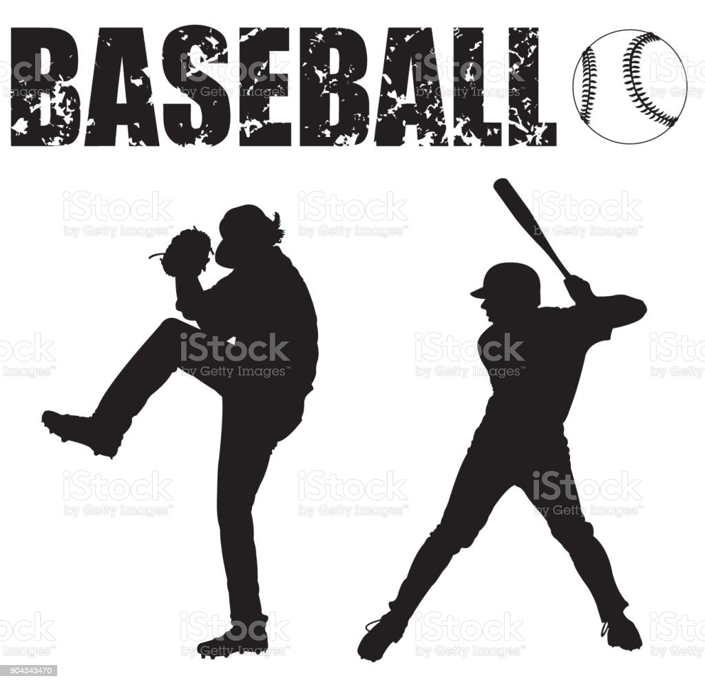 Baseball Pitcher, Batter, Ball and Typescript vector art illustration