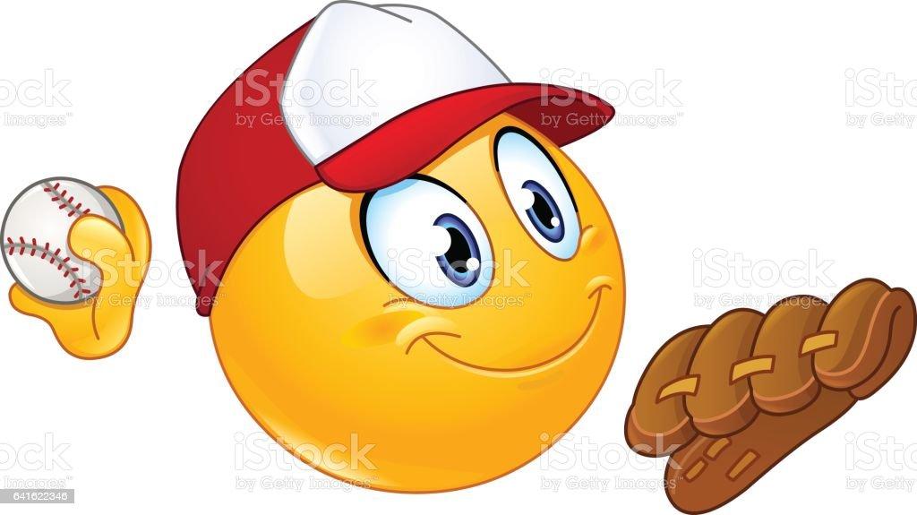 Baseball-Pitcher-emoticon – Vektorgrafik