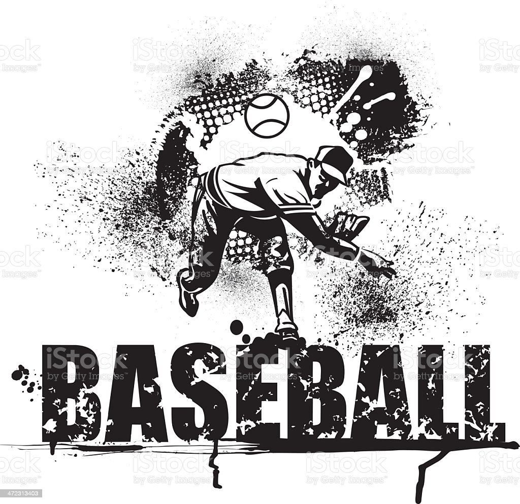 Baseball Pitcher Grunge Graphic with Type vector art illustration