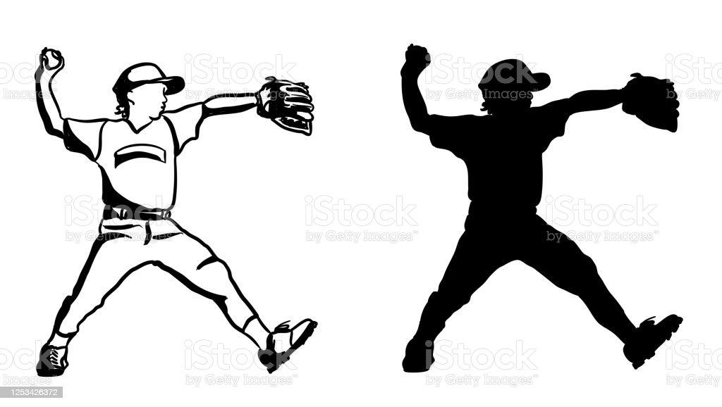 Baseball Pitcher Kid League Silhouette Stock Illustration ...
