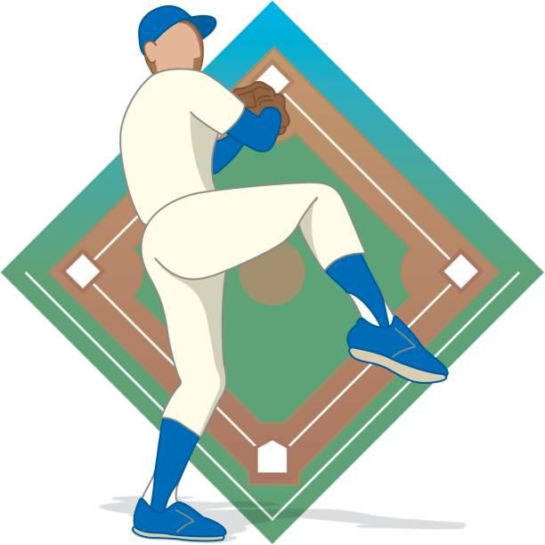 baseball pitcher male vector art illustration