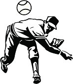 """Baseball Pitcher. Pen and ink vector illustration of a baseball pitcher. Compound paths. Use as positive image or reverse out of layout. Ghost art back as design element or color it. Check out my """"Baseball Summer Sport"""" light box for more."""