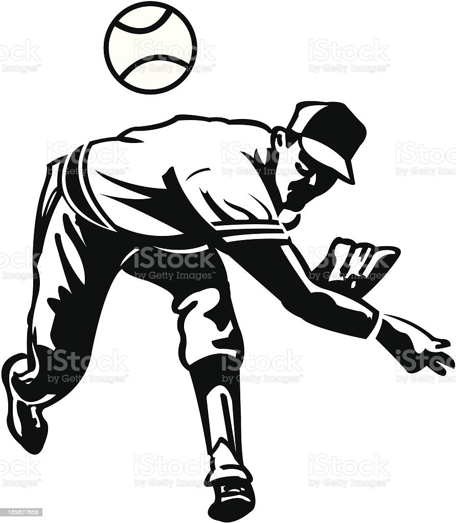 Baseball Pitcher - Pitching Ball vector art illustration
